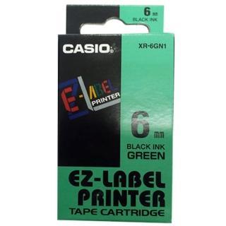 【CASIO 卡西歐】標籤機專用色帶-6mm綠底黑字(XR-6GN1)
