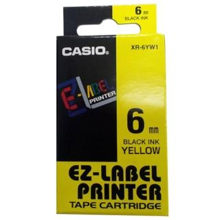 【CASIO 卡西歐】標籤機專用色帶-6mm黃底黑字(XR-6YW1)