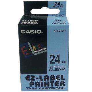 【CASIO 卡西歐】標籤機專用色帶-24mm透明底黑字(XR-24X1)