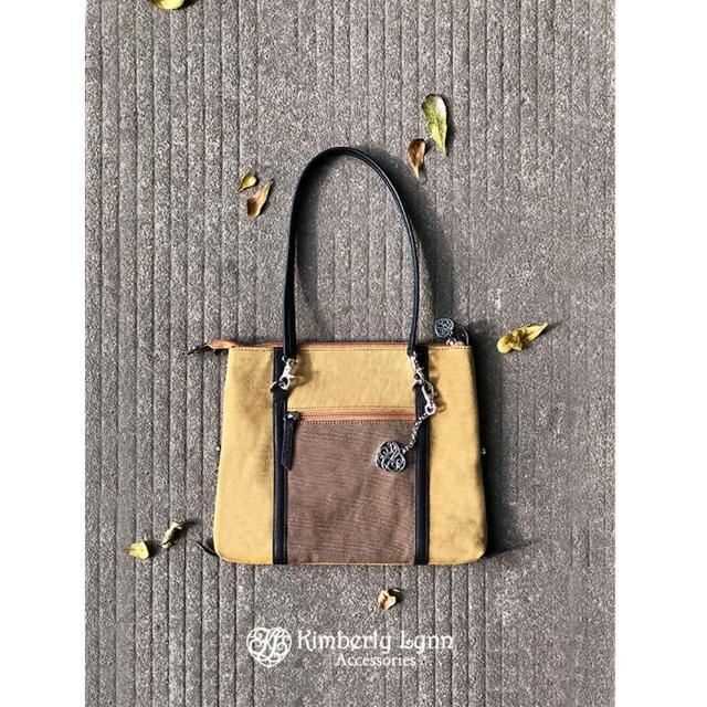 【Kimberly Lynn Accessories】10 in 1 百變包-帆布款-深藍撞橘(復古、撞色、帆布、百變)