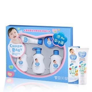 【雪芙蘭-親貝比CHARM BABY】新生喜悅禮盒組(5入/組)+寶寶牙膏-綜合水果清潔保養全配組