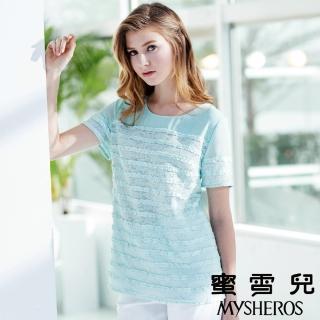 【mysheros 蜜雪兒】圓領微透膚蕾絲雪紡上衣(淺藍)