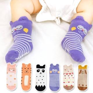 【JoyNa】寶寶嬰兒襪短襪立體卡通動物地板襪(3入)