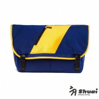 【Shuai】M1 Series Messenger 13 吋信差風格電腦側背包(藍橘)