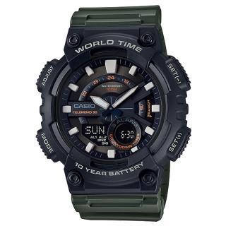 【CASIO 卡西歐】電子錶 雙顯男錶 樹脂錶帶 防水100米 電話簿記錄 世界時間(AEQ-110W-3A)