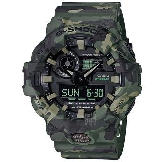 【CASIO 卡西歐】卡西歐G-SHOCK 迷彩鬧鈴電子錶-軍綠(GA-700CM-3A)