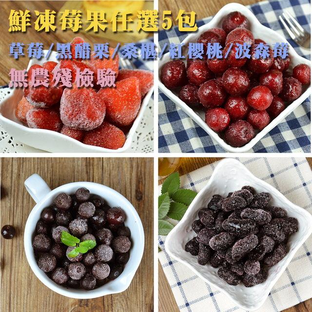 【幸美生技】5公斤超值任選 進口鮮凍莓果 草莓/黑醋栗/紅櫻桃(1000g/包)