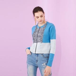 【ICHE 衣哲】預購商品-設計款撞色拼接流蘇短版拉鍊針織造型外套 -藍