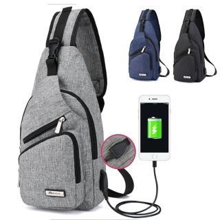 【I FUN】簡約USB 充電單肩運動小斜肩包 胸包(男女適用)