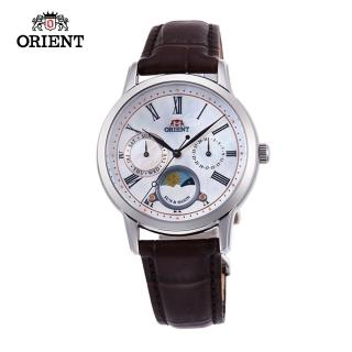 【ORIENT 東方錶】ORIENT 東方錶 SUN&MOON系列 日月相錶 皮帶款 貝殼面-34.8 mm(RA-KA0005A)
