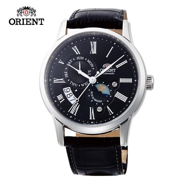 【ORIENT 東方錶】ORIENT 東方錶 SUN&MOON系列 日月相錶 皮帶款 黑色-42.5mm(SAK00004B)