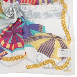 【TRUSSARDI】經典燙金LOGO艷夏海灘陽傘純綿帕領巾(白色)