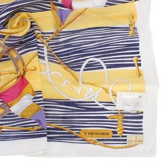 【TRUSSARDI】海洋水手波紋純綿帕領巾(桃紅色)