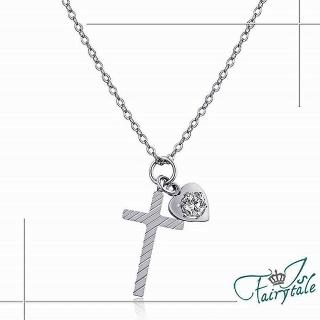 【伊飾童話】斜紋十字架 鑽墜鈦鋼項鍊 銀