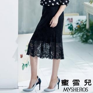 【mysheros 蜜雪兒】立體蕾絲魚尾裙(深藍)