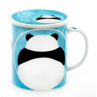 【Royal Duke】日本製趣味馬克杯-粉藍熊貓(300ml附杯蓋)