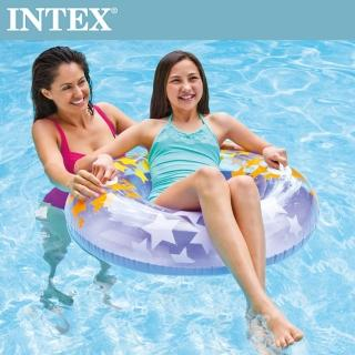 【INTEX】閃亮星游泳圈-顏色隨機出貨-91cm 適用9歲+(59256)