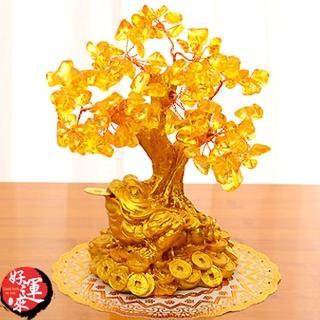 【好運來】招財樹發財樹-金蟾黃水晶-小號高16cm