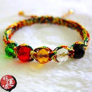 【好運來】台灣編製-五行切面水晶+五色線手環-小/