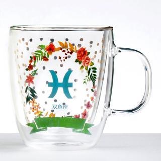 【Royal Duke】雙層玻璃咖啡杯/馬克杯/花茶杯-雙魚座(星座杯-380ml)