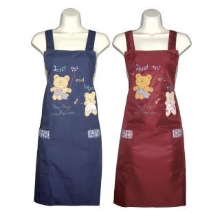 卡通熊貼布口袋圍裙GS532(藍紅二入組)