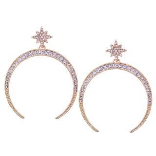 【Angel】歐美女神水鑽星月垂墜耳環(璀璨金)