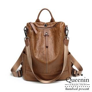 【DF Queenin】韓流時尚仿羊皮單拉鍊側肩雙肩兩用後背包-共2色