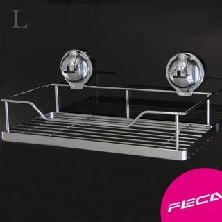 【FECA 非卡】無痕強力吸盤 鍍鉻不鏽鋼置物架組(大)
