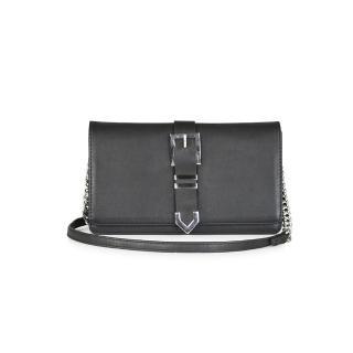【MARKBERG】Nova 丹麥手工牛皮鍊帶箭釦兩用肩揹包 手拿包/錢包(極簡黑)