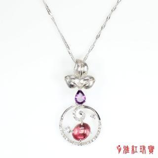 【寶石方塊】天然碧璽項鍊-925銀飾-雕花刻葉