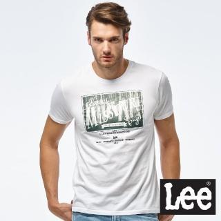 【Lee】牛仔照片印刷短袖圓領TEE/RG-男款-白(短袖、圓領)