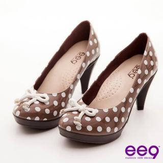 【ee9】ee9 心滿益足~點點圓舞曲水鑽釦蝴蝶結高跟鞋~俏皮芋褐(跟鞋)