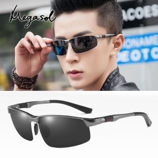 【MEGASOL】寶麗萊UV400偏光鋁鎂合金太陽眼鏡(男仕電影明星運動流線偏光墨鏡-A3121)