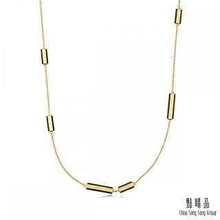 【Emphasis 點睛品】g* 系列 矩形黑玉髓黃金項鍊(長鍊)