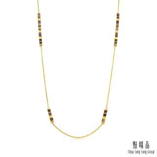 【點睛品】g* 系列 方形幾何瑪瑙黃金項鍊(長鍊)