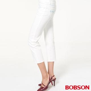 【BOBSON】女款中腰刺繡白色七分褲(白228-80)