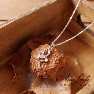 【微笑安安】晶鑽緞帶925純銀細緻項鍊