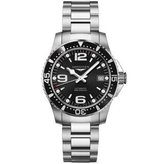 【LONGINES 浪琴】征服者300米64小時動力儲存機械錶-黑/39mm(L37414566)