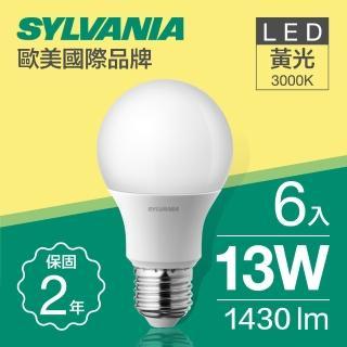 【SYLVANIA 飛樂喜萬年】13W LED 超亮廣角燈泡  黃光3000K全電壓_6入(13W LED 超亮廣角燈泡  黃光)