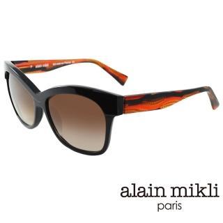 【alain mikli 法式巴黎】捌零復古藝術上眉框造型太陽眼鏡(夕陽橘 AL1326-A030)