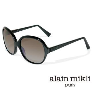 【alain mikli 法式巴黎】捌零復古藝術波紋曲線造型太陽眼鏡(黑 AL1307-1026)