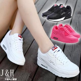 【J&H collection】皮質透氣輕量休閒健走鞋(白色 / 玫紅 / 黑色)
