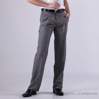 【ROBERTA 諾貝達】台灣製 休閒款 羊毛打摺西裝褲(灰色)