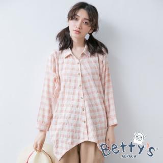 【betty's 貝蒂思】下擺不規則寬鬆格紋七分袖襯衫(淺桔)