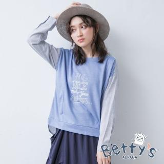 【betty's 貝蒂思】襯衫拼接棉質字母印花T-shirt(藍色)
