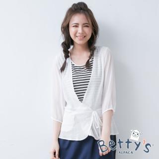 【betty's 貝蒂思】條紋背心假兩件式拼接雪紡七分袖上衣(白色)
