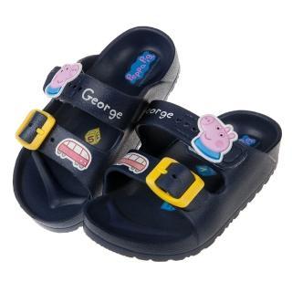 【布布童鞋】粉紅豬小妹喬治豬與小車深藍兒童超輕量拖鞋(A8M051B)