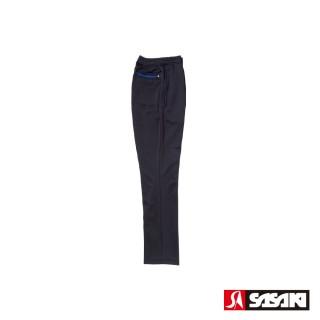 【SASAKI】吸濕排汗功能伸縮針織運動長褲-男-黑/寶藍(直筒)