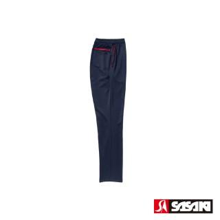 【SASAKI】吸濕排汗功能伸縮針織運動長褲-男-丈青/紅(直筒)