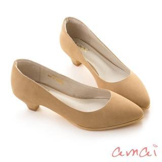 【amai】百搭素面金屬夾心尖頭低跟鞋(奶茶)